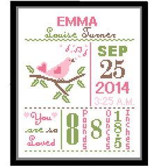 1 Cross Stitch custom Pattern Baby Girl Personalised Birth Announcement Birth Record Bird Pink Green Brown Nature Woodland Nursery Gift by ZindagiDesigns on Etsy https://www.etsy.com/listing/205372401/1-cross-stitch-custom-pattern-baby-girl