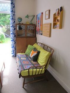 love the colors and the bit of granny chic. Nice bit of ercol Ercol Sofa, Ercol Furniture, Upholstered Chairs, Granny Chic Decor, Yellow Sofa, Shabby, Soft Furnishings, Vintage Home Decor, Living Spaces
