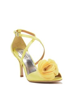 Gaby Strappy Flower Adorned Evening Shoe by Badgley Mischka Sophia Webster, Apricot Wedding, Yellow Wedding, Jimmy Choo, Colorful Wedding Shoes, Christian Louboutin, Kate Spade, Badgley Mischka Shoes, Designer Evening Dresses