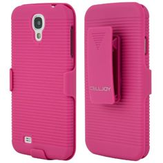 Snap on EZ-Grip Slim Hard Case for Samsung Galaxy S IV S4 i9500 with Locking Belt Swivel Clip Holster by CellJoy (Hot Pink)
