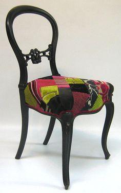 Patchwork balloon back chair by SomethingOrOtherUk on Etsy, £350.00