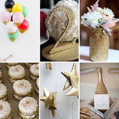 Düğün konseptinizde altının ışıltısını balon, masa kartı, vazo, cupcake, şişe ve süslemelere yansıtabilirsiniz.