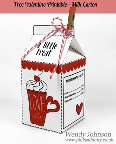 Free to download - a little milk carton gift box that is very easy to put together and will print onto A4.