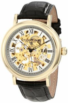 Stuhrling Original Men's 313A.333531 Classic Delphi Macbeth Mechanical Skeleton Gold Tone Watch Stuhrling Original. $79.99. Water-resistant to 165 feet (50 M). Decorated screw-down case-back with onion style crown. 23k yellow gold layered round shaped case with Krysterna crystal on front and back. Gold skeletonized dial with blue skeletonized hands and black roman numerals markers. Black alligator embossed genuine leather strap