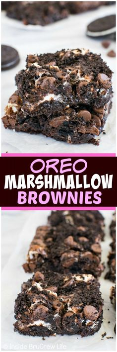 Oreo Marshmallow Brownies - swirls of cookies and marshmallows add a sweet twist to these brownies. Easily adaptable to be Gluten Free with a GF box brownie mix and GF chocolate sandwich cookies Best Dessert Recipes, Easy Desserts, Sweet Recipes, Delicious Desserts, Yummy Food, Oreo Desserts, Awesome Desserts, Oreo Dessert Easy, Dessert Healthy