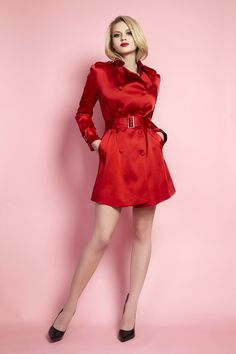 Classic Satin Trench Coat - red