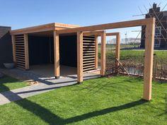 Canopy of douglas wood. Garden Structures, Outdoor Structures, Douglas Wood, Wood Canopy, Gazebo, Timber Roof, Hot Tub Backyard, Patio Enclosures, Bamboo Garden