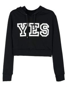 Shop Black YES Print Crop Hoodie from choies.com .Free shipping Worldwide.$26.99