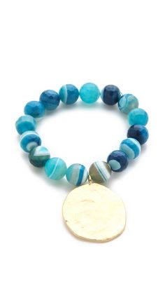 Kenneth Jay Lane Agate Bead Coin Stretch Bracelet