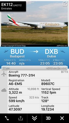 Flight EK112 from Budapest to Dubai http://fr24.com/UAE112/c133a74