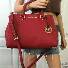 NWT MICHAEL KORS RED MEDIUM SATCHEL SAFFIANO LEATHER TOTE CROSSBODY PURSE BAG