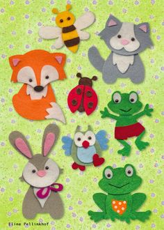 Eline Pellinkhof: Collectable Give-AwayThis clever lady is selling cutters which help create these darling animals,worth looiking into! Felt Board Stories, Felt Stories, Felt Finger Puppets, Felt Puppets, Felt Hair Accessories, Quiet Book Templates, Felt Animal Patterns, Fox Crafts, Diy Quiet Books