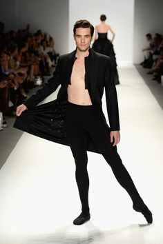 Oooh, sparkly! With a superfluous untied bowtie…and tights. | How To Get A Standing Ovation At Fashion Week: Feature A Shirtless Male Ballet Dancer In Tights