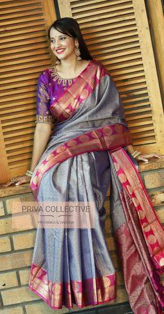 Banarasi muslin silk saree with running blouse Brocade Blouse Designs, Cotton Saree Blouse Designs, Saree Blouse Patterns, Designer Blouse Patterns, Bridal Blouse Designs, Blouse Neck Designs, Dress Designs, Latest Silk Sarees, Stylish Blouse Design