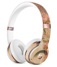Vintage Brown and Maroon Floral Pattern Full-Body Skin Kit for the Beats by Dre Solo 3 Wireless Headphones Cute Headphones, Bluetooth Headphones, Over Ear Headphones, Sports Headphones, Beats By Dr Dre, Leica, Things To Buy, Phone Accessories, Headset