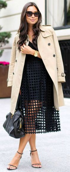 Gorgeous beige trench + perfect match + sexy black lace dress + sophistication + flirtiness + Kat Tanita.  Trench: Burberry, Dress: Cynthia Rowley, Bag: YSL, Heels: Stuart Weitzman....   Style Inspiration