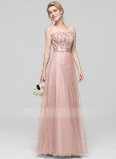 [US$ 119.99] A-Line/Princess Scoop Neck Floor-Length Tulle Bridesmaid Dress With Ruffle