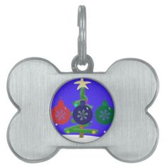 Christmas Baubles Pet Name Tag  #Christmas #Baubles #Pet #Dog #Tag