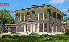 Готовый проект 2-этажного дома с гаражом на 1 машиноместо площадью 288м2 в Краснодаре Dream House Plans, Gazebo, Floor Plans, Outdoor Structures, Flooring, Mansions, How To Plan, House Styles, Projects