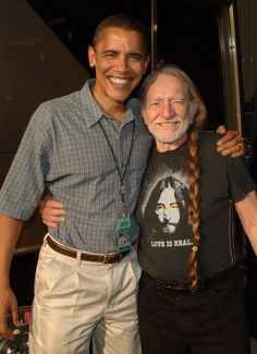 "President Barack Obama and Willy Nelson at Farm Aid 2005 (Nice short editorial about taking an ""adult time out"" until you can say something nice.)"