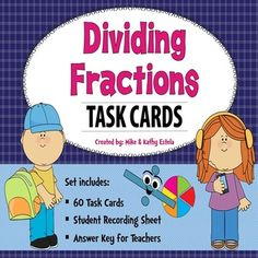 There are sixty (60) task cards in this set with varying levels of difficulty that you can use to discuss or review the concepts on how to divide fractions.  $