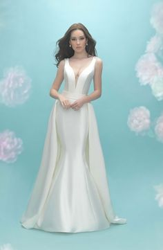 V-Neck Mermaid Wedding Dress with Dropped Waist in Silk Mikado. Bridal Gown Style Number:33590936