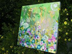 Boutons d'or et blés dorés ° Acrylique sur toile 50x50 cm ° by marie Gremmelprez