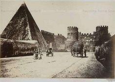 Foto storiche di Roma - Piramide di Caio Cestio e Porta San Paolo Anno: 1865