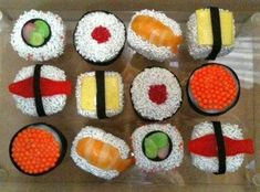 sushi cupcake ideas | Check out an overhead view of the sushi cake pops below. For even more ...