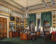 Interiors of the Winter Palace. The Study of Emperor Alexander II - Edward Petrovich Hau - Drawings, Prints and Painting from Hermitage Museum Imperial Palace, Imperial Russia, Palazzo, Romanov Palace, Detailed Paintings, Winter Palace, Hermitage Museum, Russian Painting, Watercolor Images