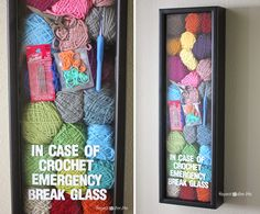 Repeat Crafter Me: Crochet Emergency Kit. This would be great to hang in a craft room. Crochet Crafts, Yarn Crafts, Crochet Projects, Repeat Crafter Me, Love Crochet, Crochet Hooks, Knit Crochet, Dishcloth Crochet, Crochet Mandala