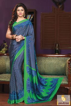 The trendy green and blue creape printed special occasion party wear saree is made up of nice design and printed work on stylish and chic looking attire.