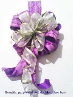 Purple and Gold Wired Ribbon Bow Spring by FinishingTouchDecor, $11.00 http://www.etsy.com/shop/FinishingTouchDecor