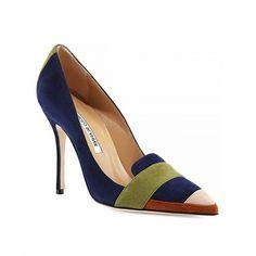 Manolo Blahnik Durut Colorblock Suede Pump // #Shopping #Shoes
