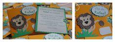 Modelo Rafael - CI#01: Convite Infantil. Tamanho: 12x12cm, com apliques em Scrapbook.