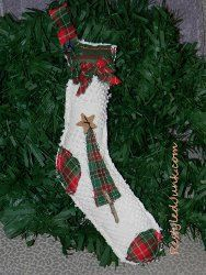Repurposed Bedspread Stocking - A green craft for the Christmas season from @Cyndee Kromminga