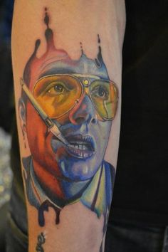 Richard's Johnny Depp In fear and loathing colour portrait tattoo    By KAT WILSON @ hello Sailor in Blackpool, UK    Done at MANCHESTER TATTOO SHOW 2012  won best portrait for Saturday.    https://www.facebook.com/pages/Hello-Sailor-Tattoo-Studio/148122035219255