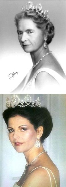 The connaught tiara has been worn by many royal ladies. Here official portraits Photo 1; Princess Sibylla Photo 2; Queen Silvia