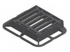Ductile Iron Gully Grating and Frame Kitemarked to EN 124 Class Black Bitumen Coated End Hinged Locking Ductile Iron, Cover, Frame, Black, Picture Frame, Black People, Frames