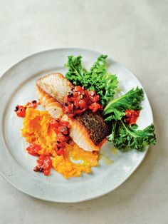 Mediterranean salmon with curly kale and sweet potato mash recipe from Anxiety & Depression by Dale Pinnock | Cooked