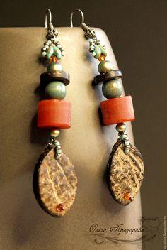 """Купить Серьги """"Ethnic music"""" - комбинированный, длинные серьги, серьги с сердоликом, серьги с камнями"""