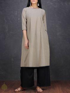 Grey Handwoven Cotton Kurta by Jaypore