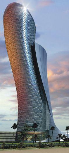 Capital Gate Tower, Hyatt Capital Gate Hotel, Abu Dhabi designed by RMJM Architects :: 36 floors, height 165m