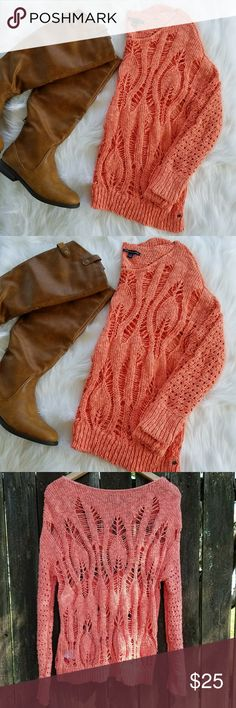 NWOT American Eagle Outfitters open knit sweater Beautiful, bright coral/ orange/ peachy open knit sweater. Large openings in the knitting give a unique look, and almost boho vibe to this sweater. Perfect for fall! Size Small.  No flaws. Never worn. American Eagle Outfitters Sweaters