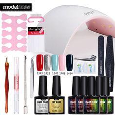 Modelones Nail Gel Soak off Gel polish Top Base Coat gel nails polish kit 24w 9C. Click visit to buy #Nail #Tool #NailTool