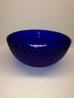 Vintage cobalt blue bowl diamond heavy 10 inch by PriorMemories