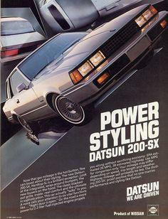 In the my Dad had a Datsun Hatchback. Art Vintage, Vintage Ads, Classic Japanese Cars, Vintage Japanese, Datsun Car, Car Brochure, Nissan Infiniti, Japan Cars, Car Advertising