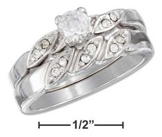 Sterling Silver 4.5mm Cubic Zirconia Twisted Pave Shank Wedding Band Set
