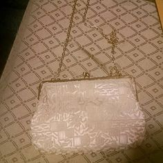 Walboeg Purse Vintage Hannd beaded in Hong Kong, white. Vintage. 11 inch chain Walboeg Bags Mini Bags