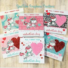 Lawn fawn winter unicorn 3x3 Valentine Cards